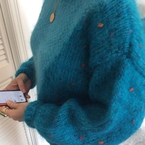 Grifoni Mohair Wool Blend Sweater Turquoise M / L